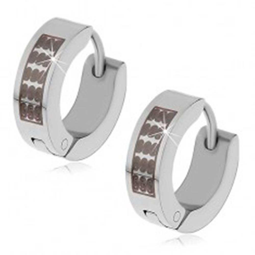 Šperky eshop Náušnice z ocele 316L - obruče striebornej farby s čiernym esíčkovým vzorom