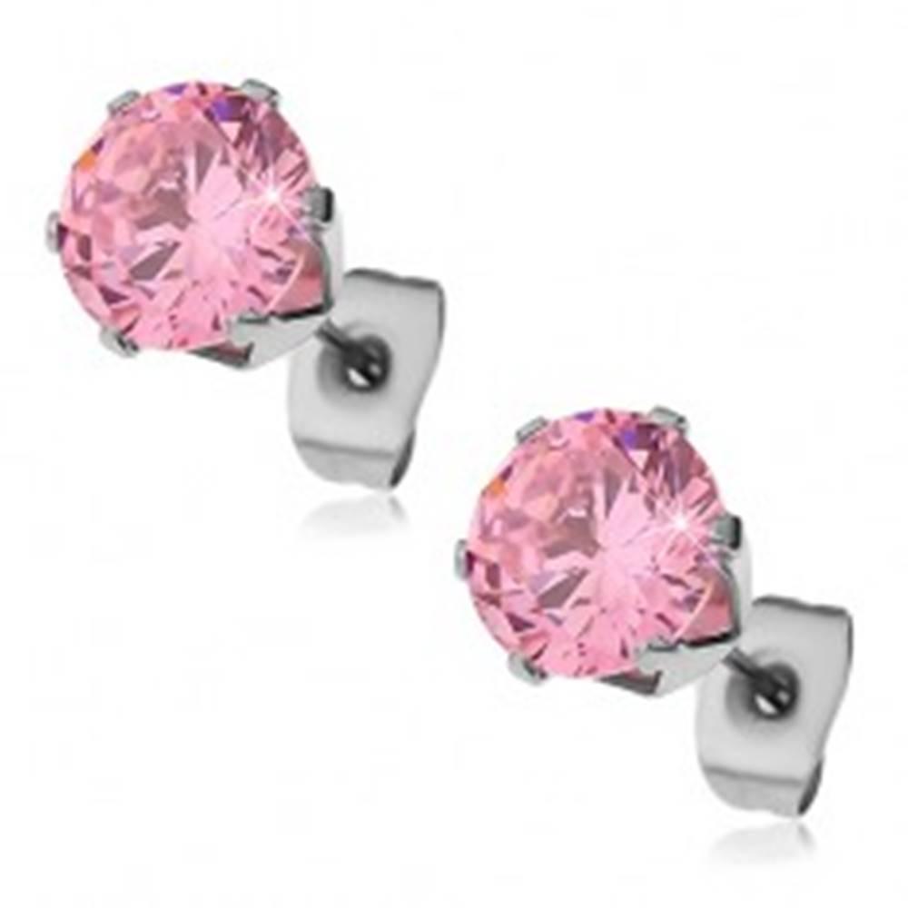 Šperky eshop Náušnice z ocele 316L s ružovým zirkónom, 8 mm