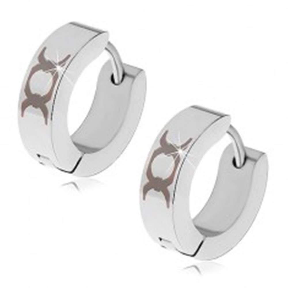 Šperky eshop Náušnice z ocele 316L striebornej farby- čierny kruhový ornament