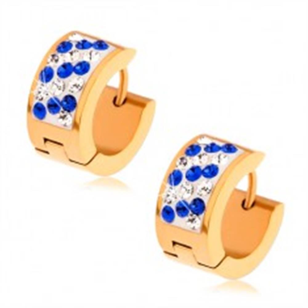 Šperky eshop Náušnice z ocele zlatej farby, biely pás vykladaný modrými a čírymi zirkónmi