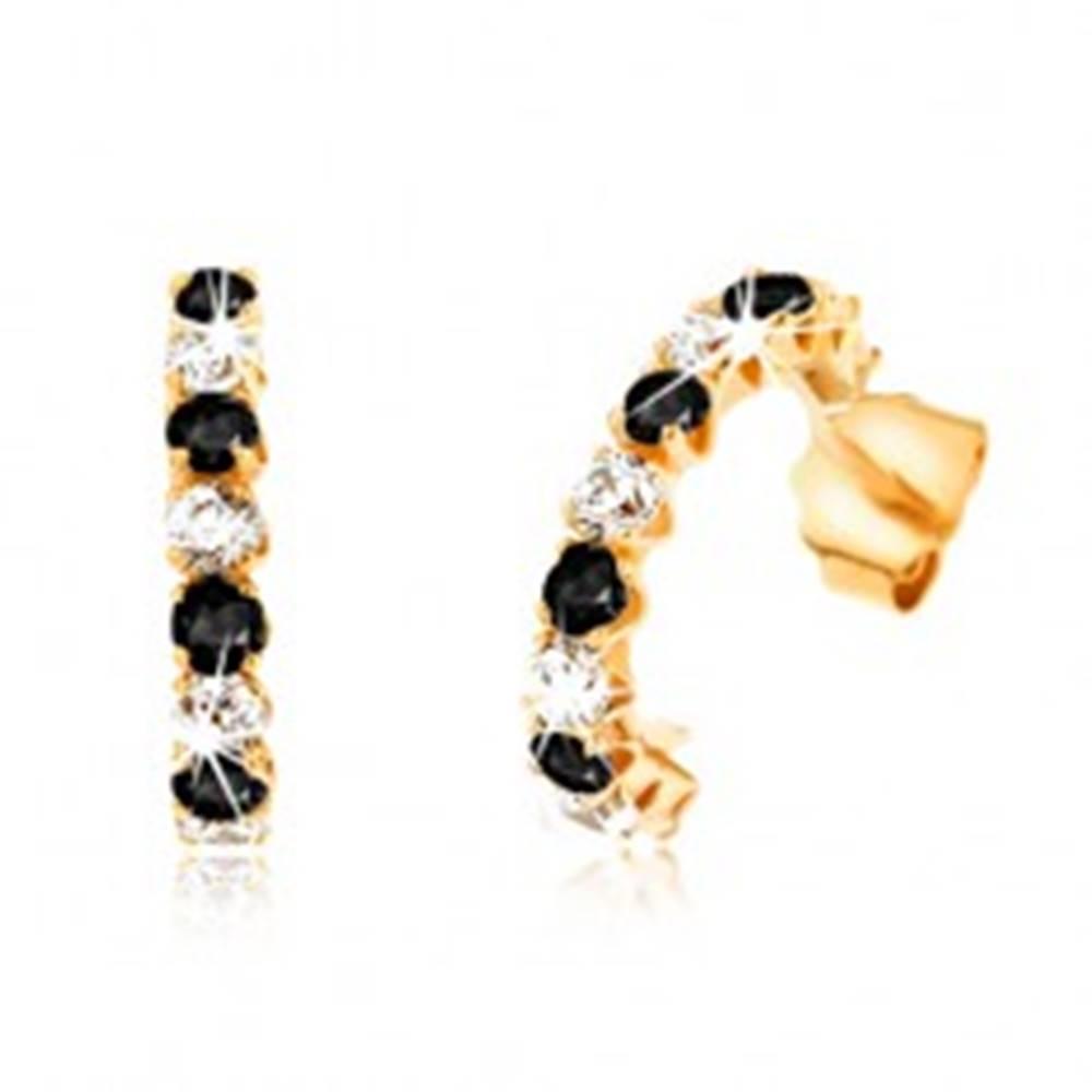 Šperky eshop Náušnice zo žltého 9K zlata - polkruhy s čiernymi zafírmi a čírymi zirkónmi