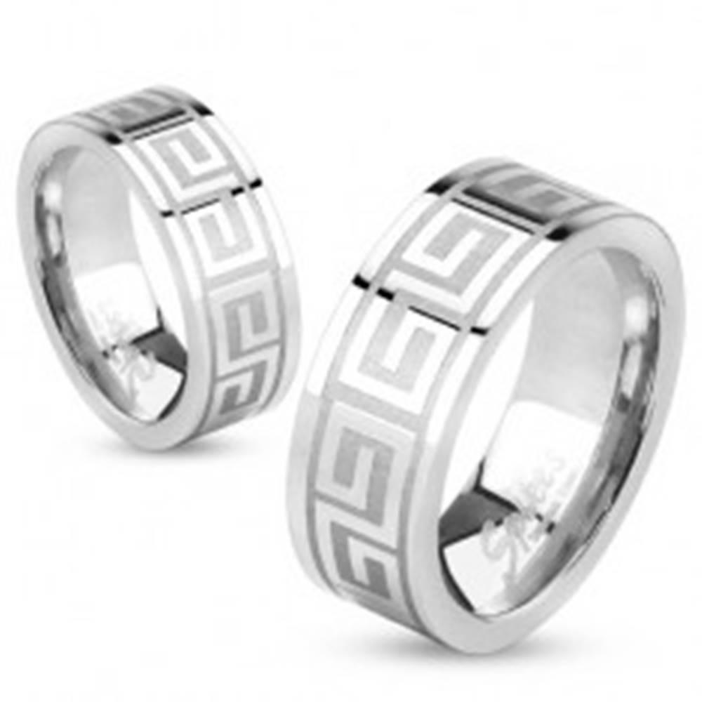 Šperky eshop Obrúčka z ocele striebornej farby, lesklý povrch, grécky kľúč, 6 mm - Veľkosť: 48 mm