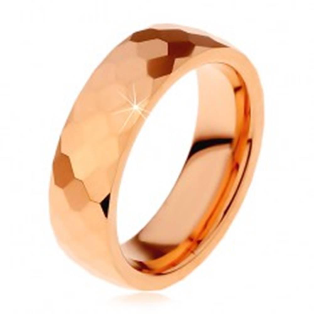 Šperky eshop Obrúčka z tungstenu v medenom odtieni, vybrúsené šesťhrany, 6 mm - Veľkosť: 49 mm