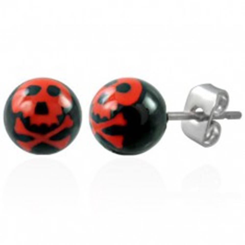 Šperky eshop Oceľové náušnice, čierne guličky - červená lebka