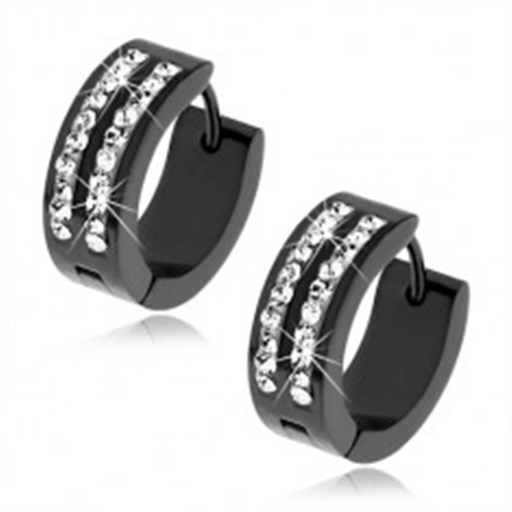 Šperky eshop Oceľové náušnice čiernej farby, dva zvislé pásiky s čírymi kamienkami