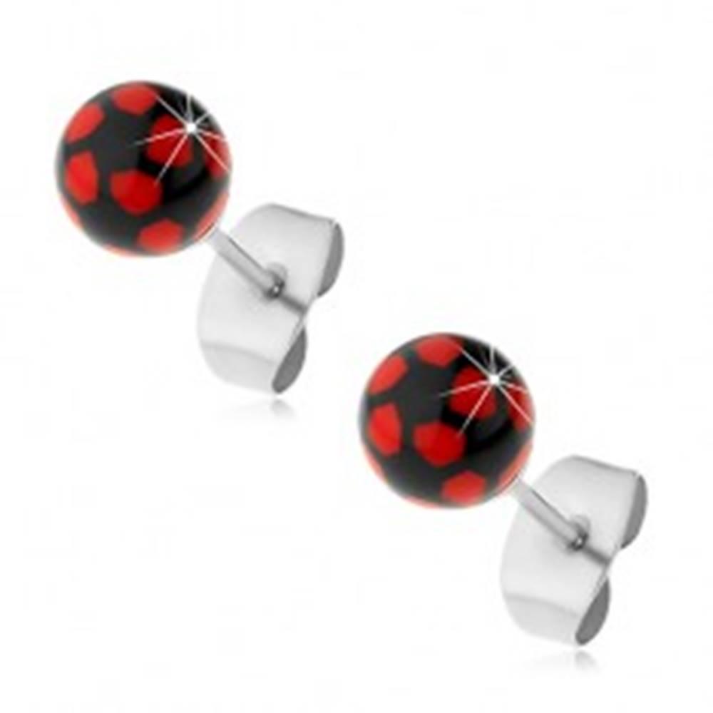 Šperky eshop Oceľové náušnice, čierno-červené guličky, puzetové zapínanie