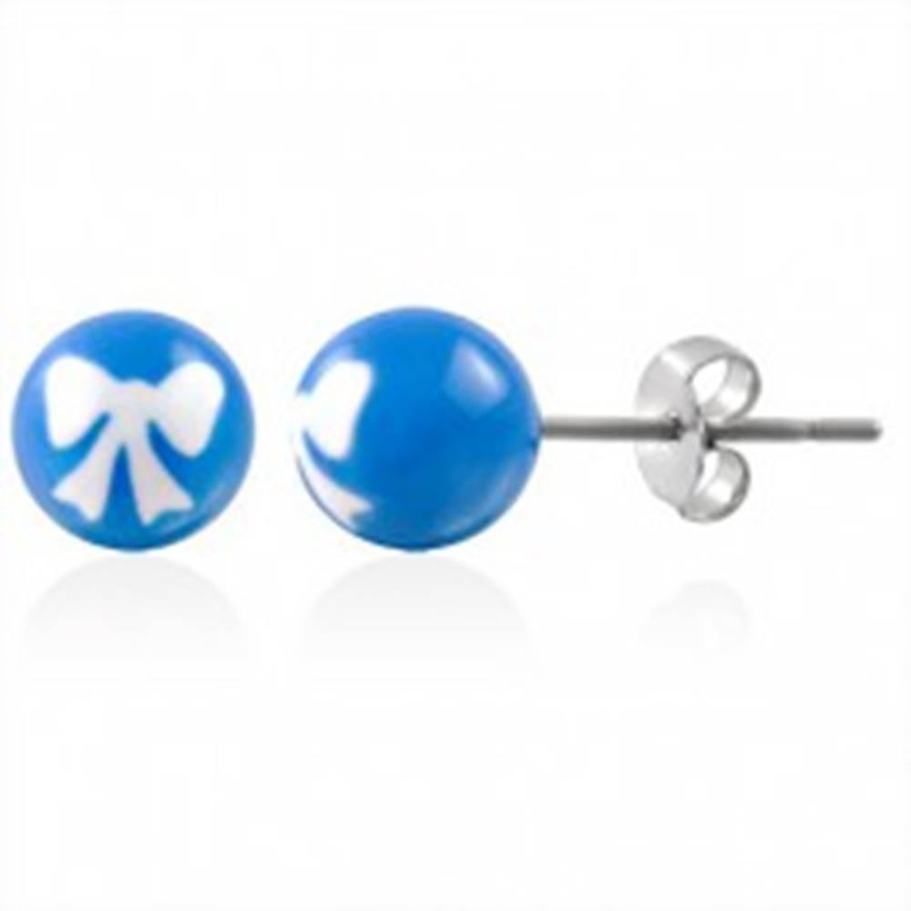 Šperky eshop Oceľové náušnice guličky s mašličkou