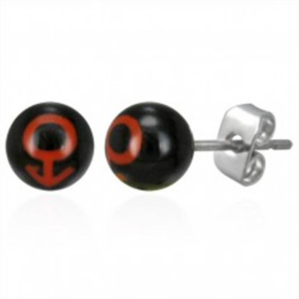 Šperky eshop Oceľové náušnice guličky - symbol MUŽ