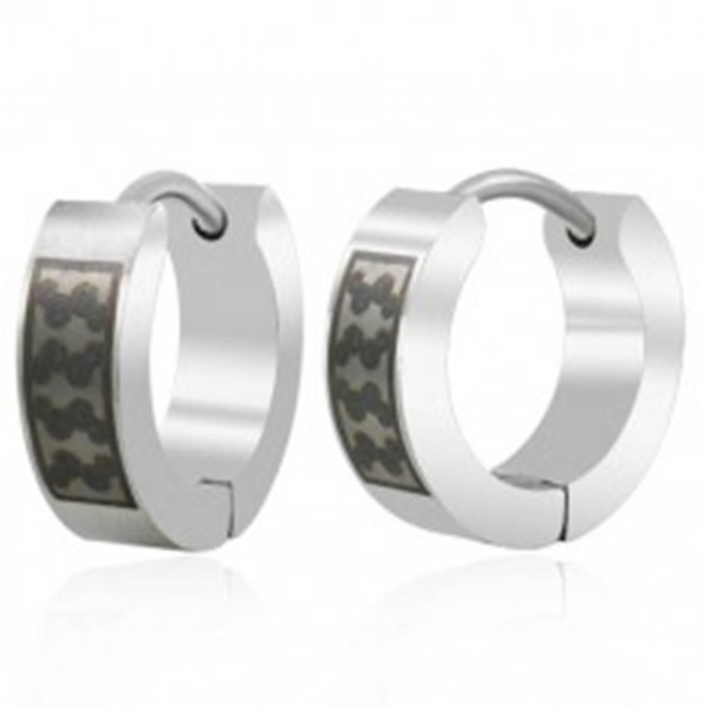 Šperky eshop Oceľové náušnice krúžky s čiernymi esíčkami