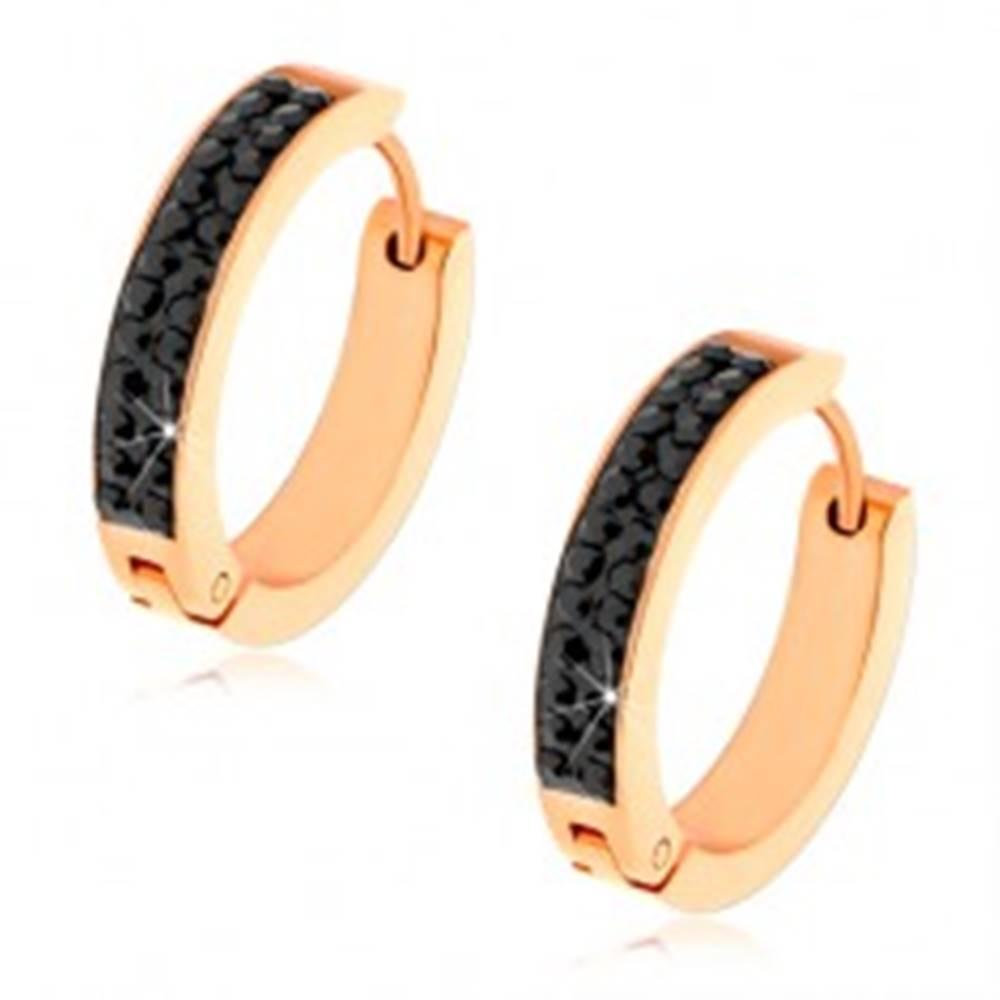 Šperky eshop Oceľové náušnice medenej farby, čierny pásik zo zirkónov