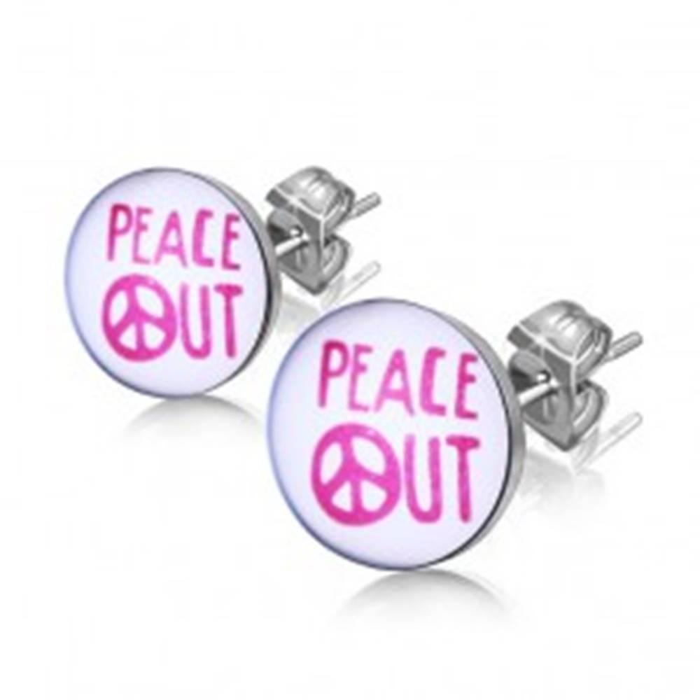 """Šperky eshop Oceľové náušnice - nápis """"PEACE OUT"""" v krúžku"""