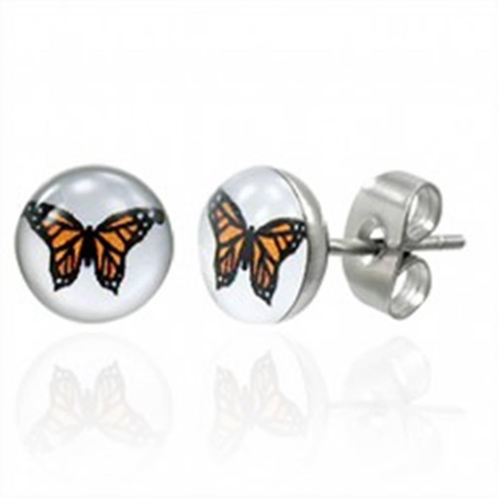 Šperky eshop Oceľové náušnice oranžový motýľ