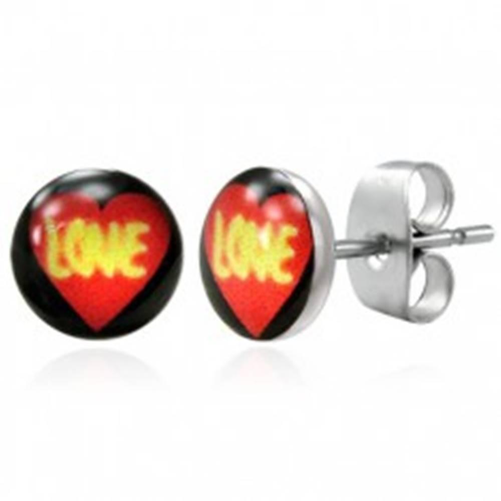 Šperky eshop Oceľové náušnice - srdce LOVE