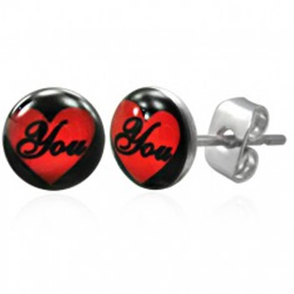 Šperky eshop Oceľové náušnice - srdce, nápis YOU