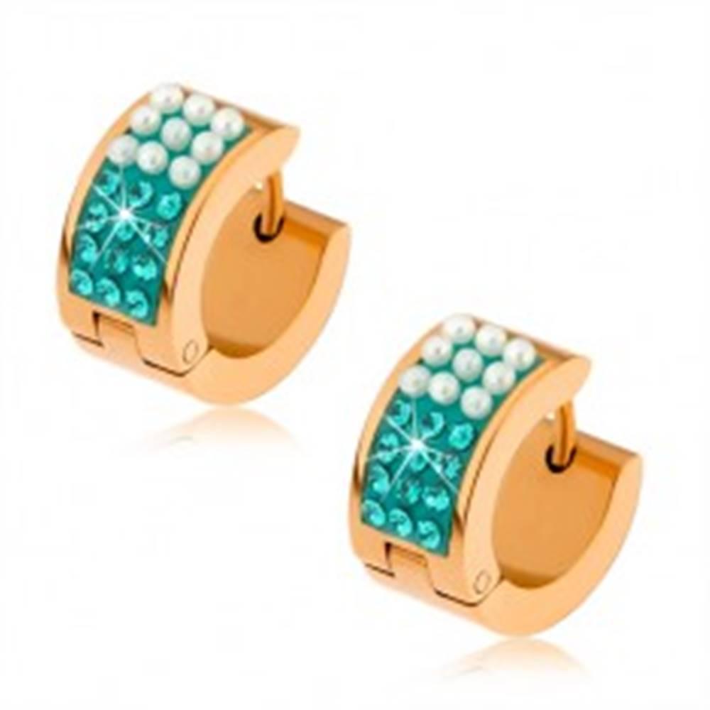 Šperky eshop Oceľové náušnice zlatej farby, perleťovo biele guličky, tyrkysové zirkóny