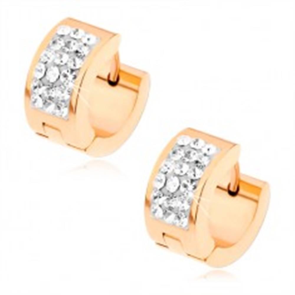 Šperky eshop Oceľové náušnice zlatoružovej farby, širší biely pásik vykladaný čírymi zirkónmi