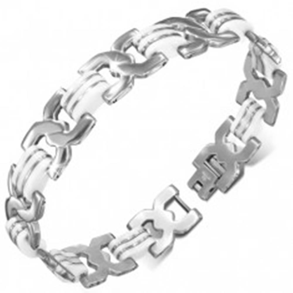 Šperky eshop Oceľový náramok - točené X články, biele gumené pruhy