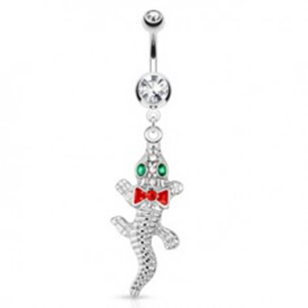 Šperky eshop Oceľový piercing do bruška, krokodíl so smaragdovými očami a červenou mašličkou