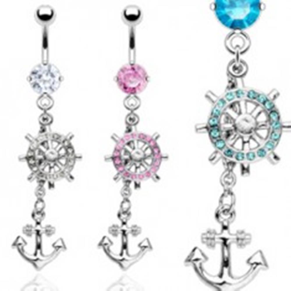 Šperky eshop Oceľový piercing do bruška so zirkónmi, príveskom kotvy a kormidla - Farba zirkónu: Aqua modrá - Q