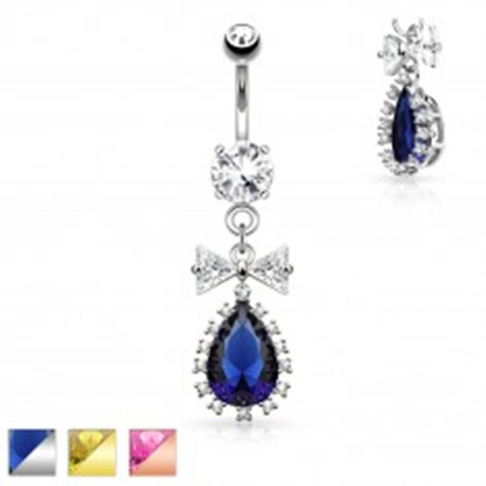Šperky eshop Oceľový piercing do pupku, číra mašlička a farebná zirkónová kvapka - Farba piercing: Medená