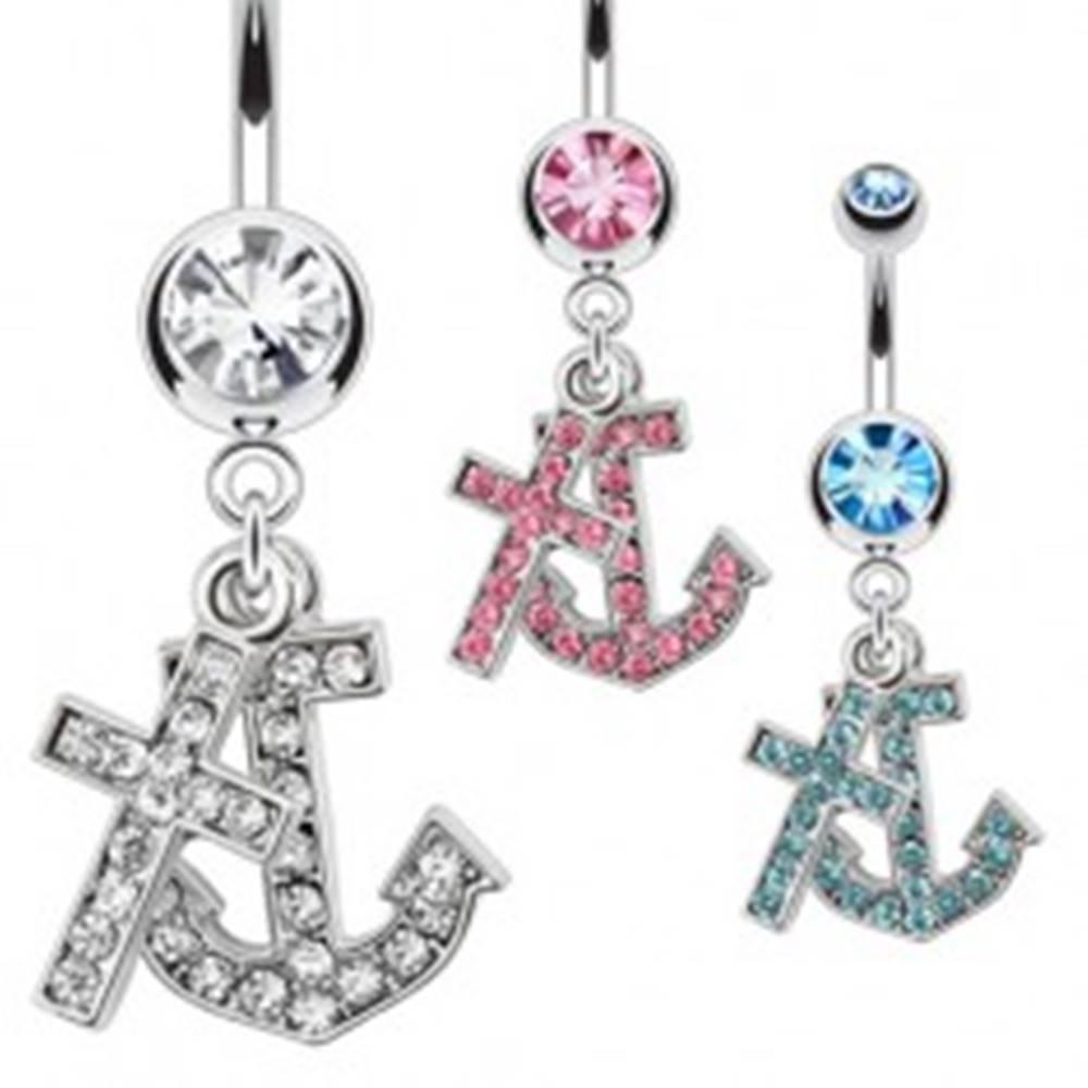 Šperky eshop Oceľový piercing do pupku s príveskom kotvy a kríža, zirkóny - Farba zirkónu: Aqua modrá - Q
