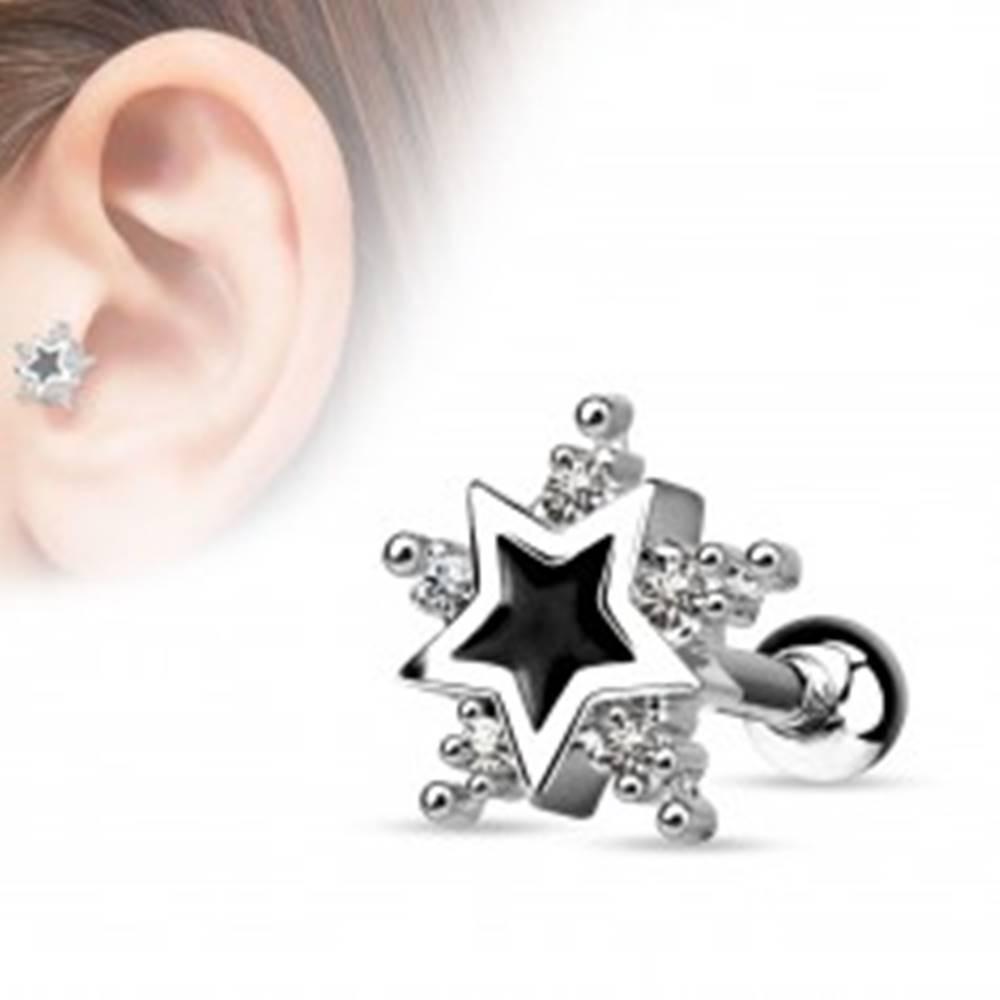 Šperky eshop Oceľový piercing do tragusu, čierna glazúrovaná hviezda, číre zirkóniky
