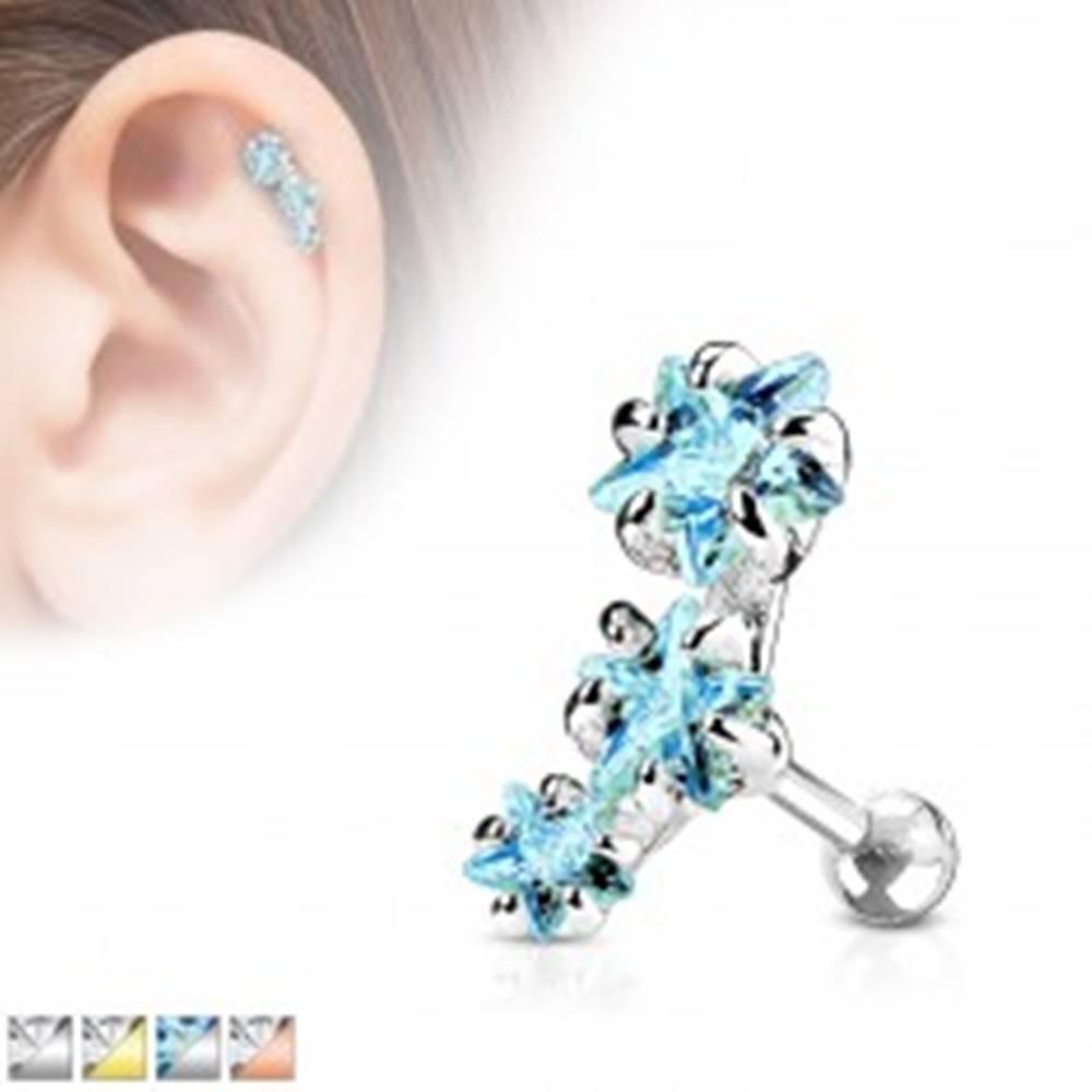 Šperky eshop Oceľový piercing do tragusu ucha, oblúk z troch zirkónových hviezdičiek - Farba zirkónu: Aqua modrá - Q