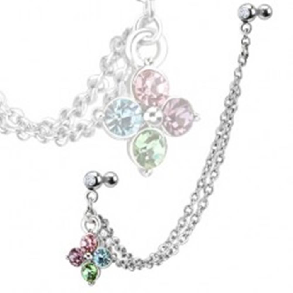 Šperky eshop Oceľový piercing do ucha - farebný zirkónový kvet, dvojitá retiazka