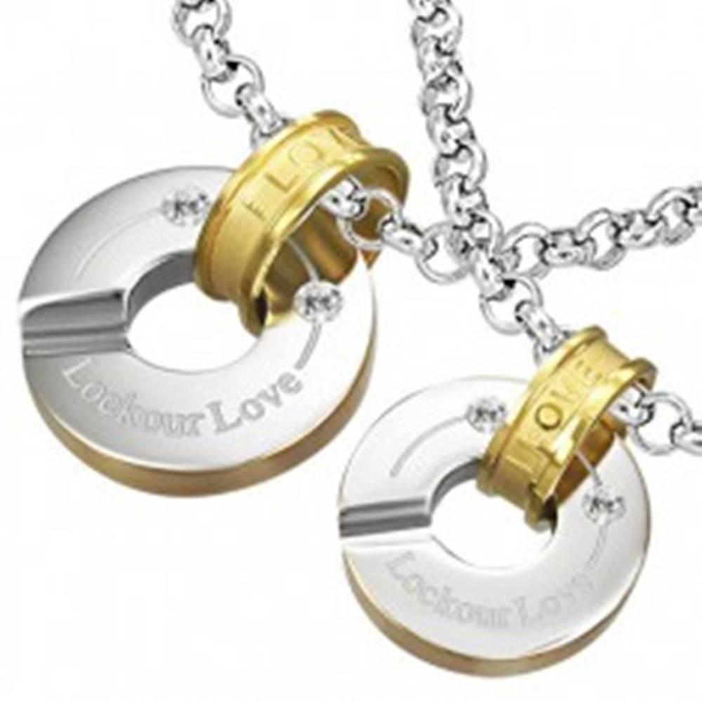 Šperky eshop Oceľový prívesok uzamknuté kruhy lásky