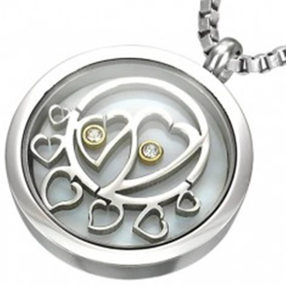 Šperky eshop Okrúhly oceľový prívesok, vo vnútri srdiečka so zirkónmi