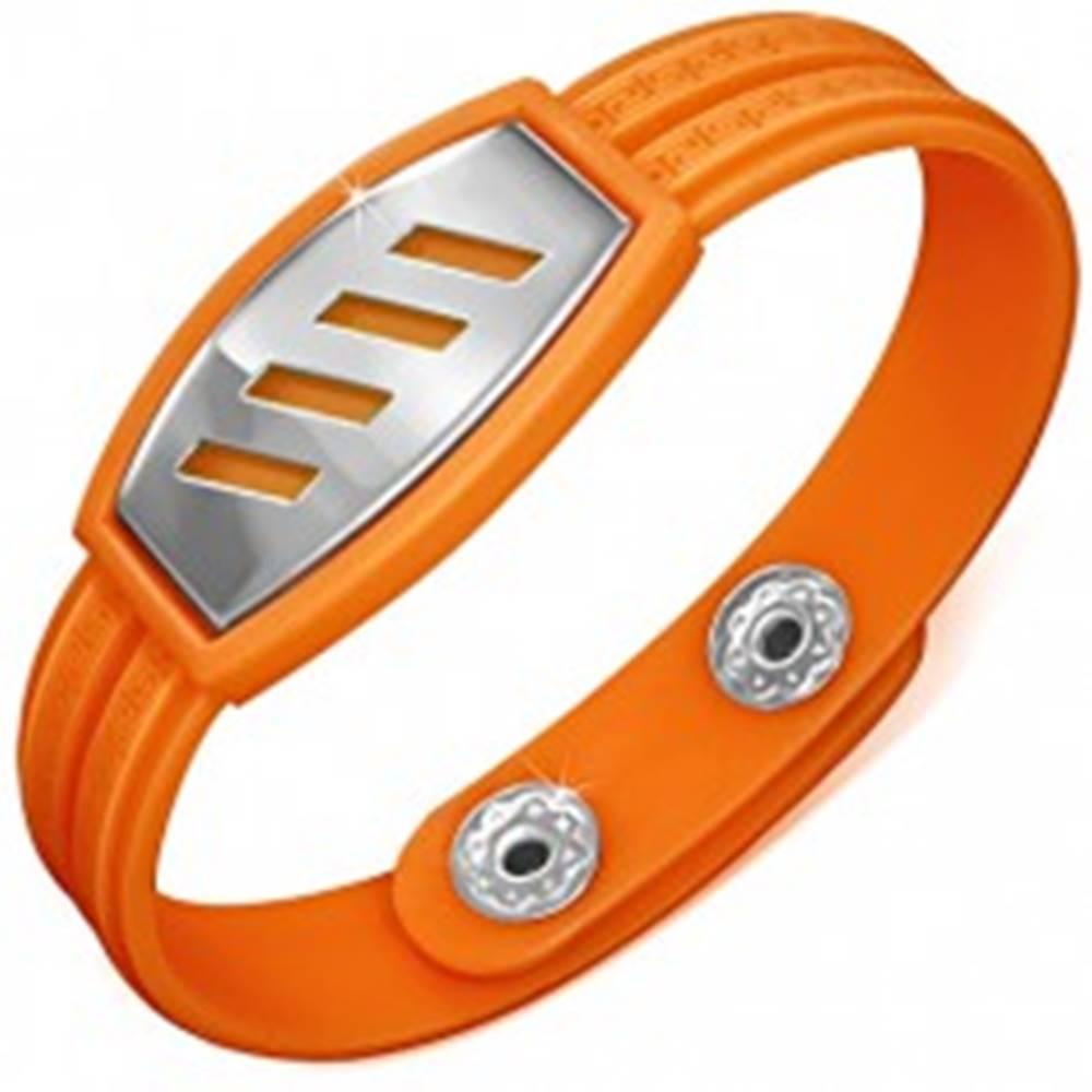 Šperky eshop Oranžový gumený náramok - šikmé výrezy na známke, grécky kľúč