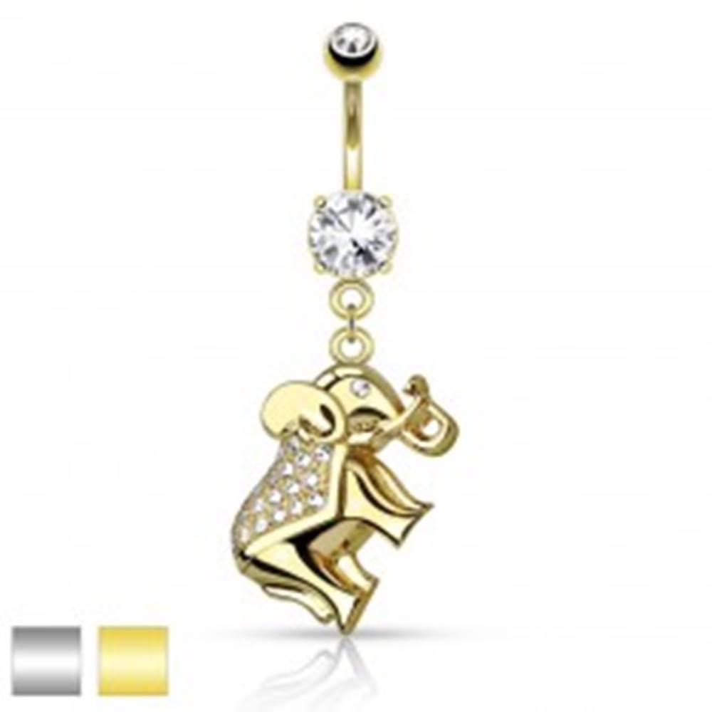 Šperky eshop Piercing do brucha z chirurgickej ocele, ligotavý sloník zdobený zirkónmi - Farba piercing: Strieborná