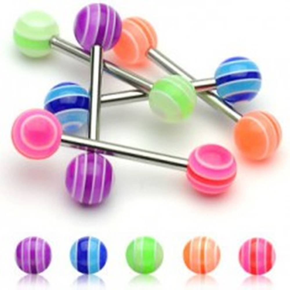 Šperky eshop Piercing do jazyka -  UV Multicolor Ball  - Farba piercing: Fialová