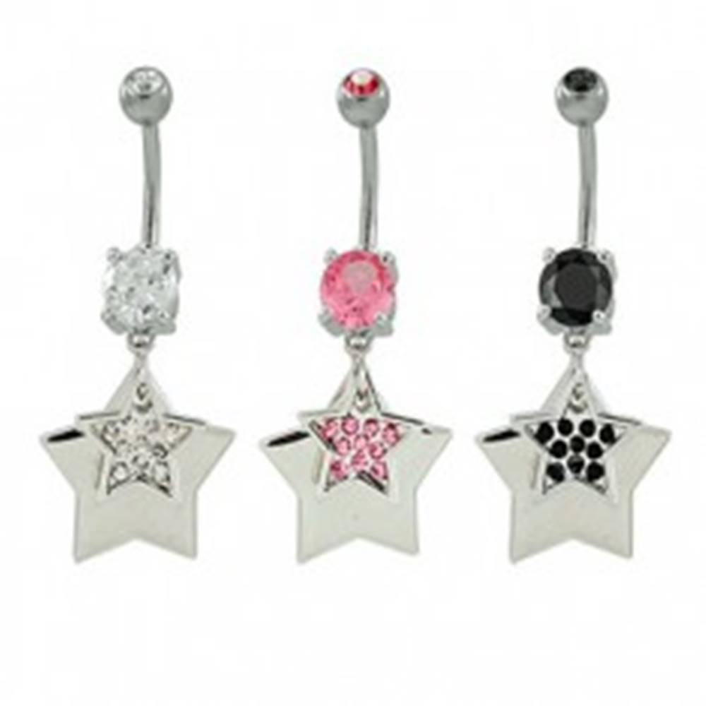 Šperky eshop Piercing do pupka hviezdy so zirkónmi - Farba zirkónu: Čierna - K