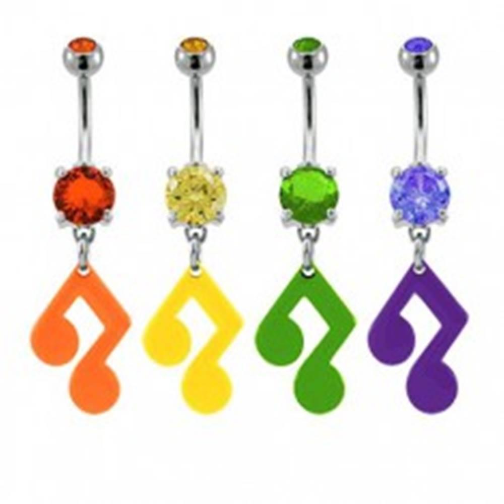 Šperky eshop Piercing do pupku - hudobná nota so zirkónom v rôznych farbách - Farba zirkónu: Fialová - A
