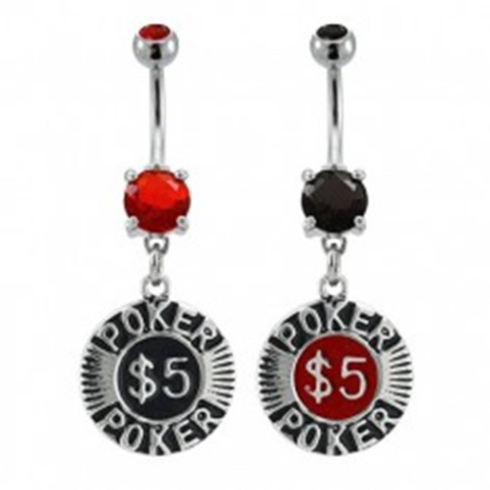 Šperky eshop Piercing do pupku pokrový žetón - Farba zirkónu: Červená - R