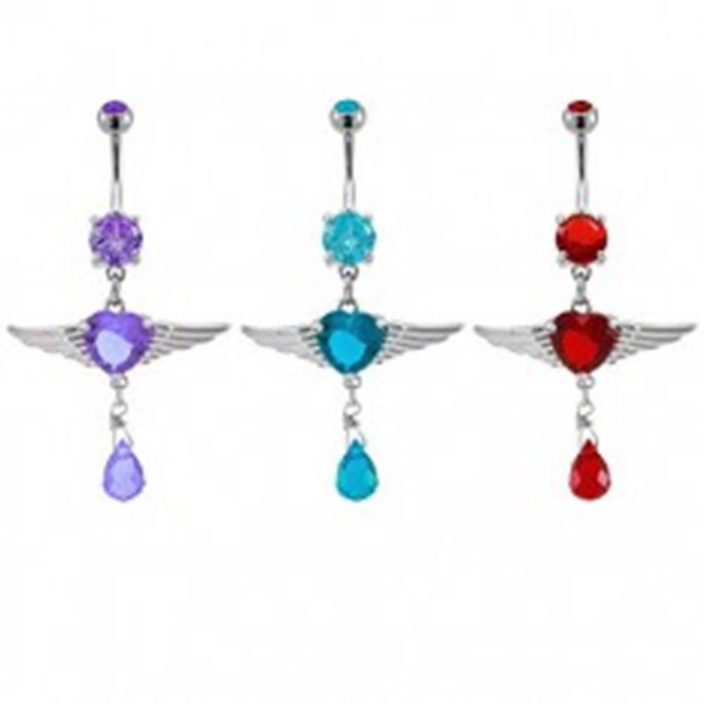 Šperky eshop Piercing do pupku srdiečko s anjelskými krídlami - Farba zirkónu: Červená - R