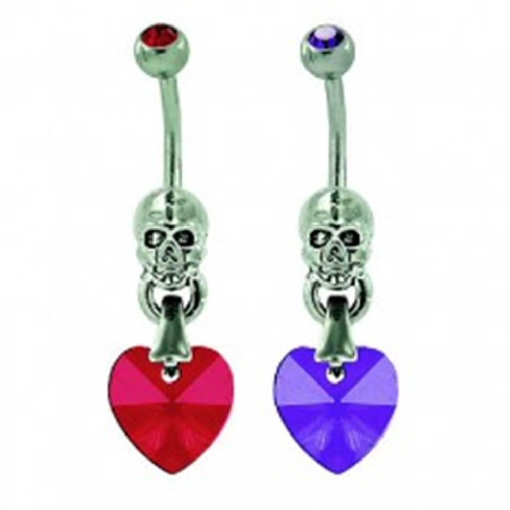 Šperky eshop Piercing do pupku srdiečko s lebkou - Farba zirkónu: Červená - R