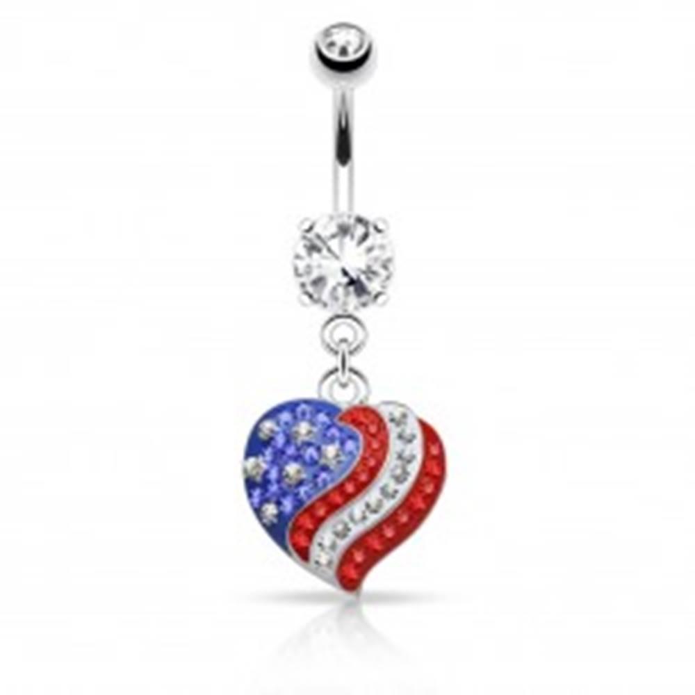 Šperky eshop Piercing do pupku z ocele 316L, zirkónové srdce s motívom americkej vlajky