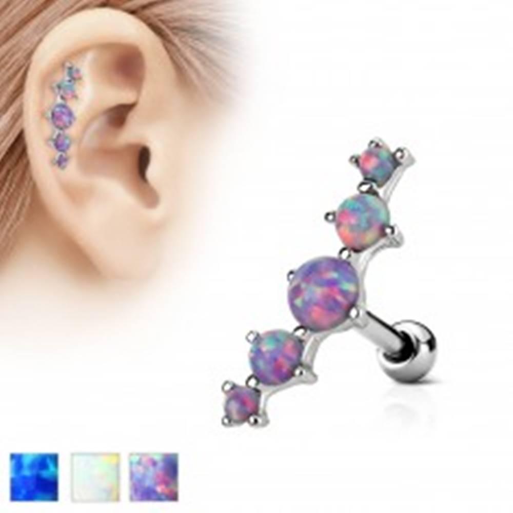 Šperky eshop Piercing do ucha z ocele 316L, oblúk z piatich syntetických opálov - Farba piercing: Biela