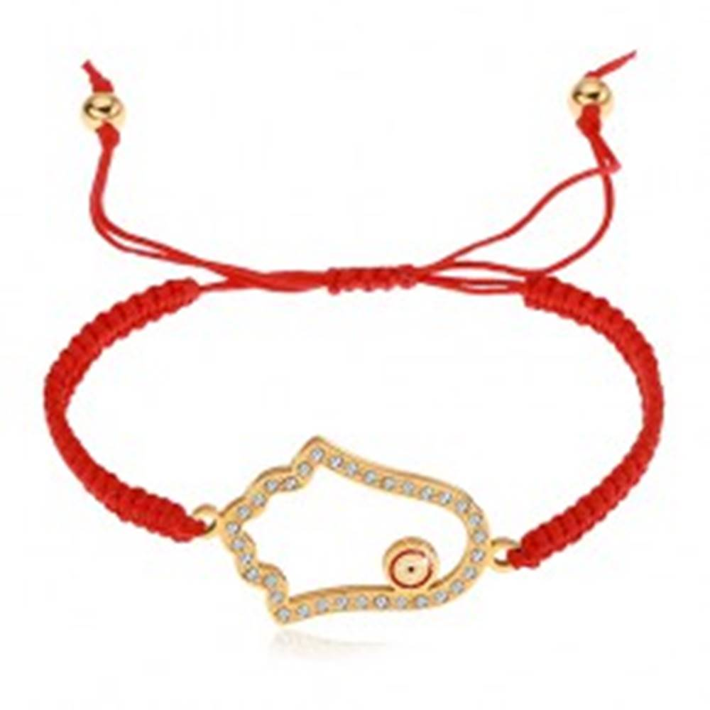 Šperky eshop Pletený nastaviteľný náramok červenej farby, symbol Hamsa, číre zirkóny