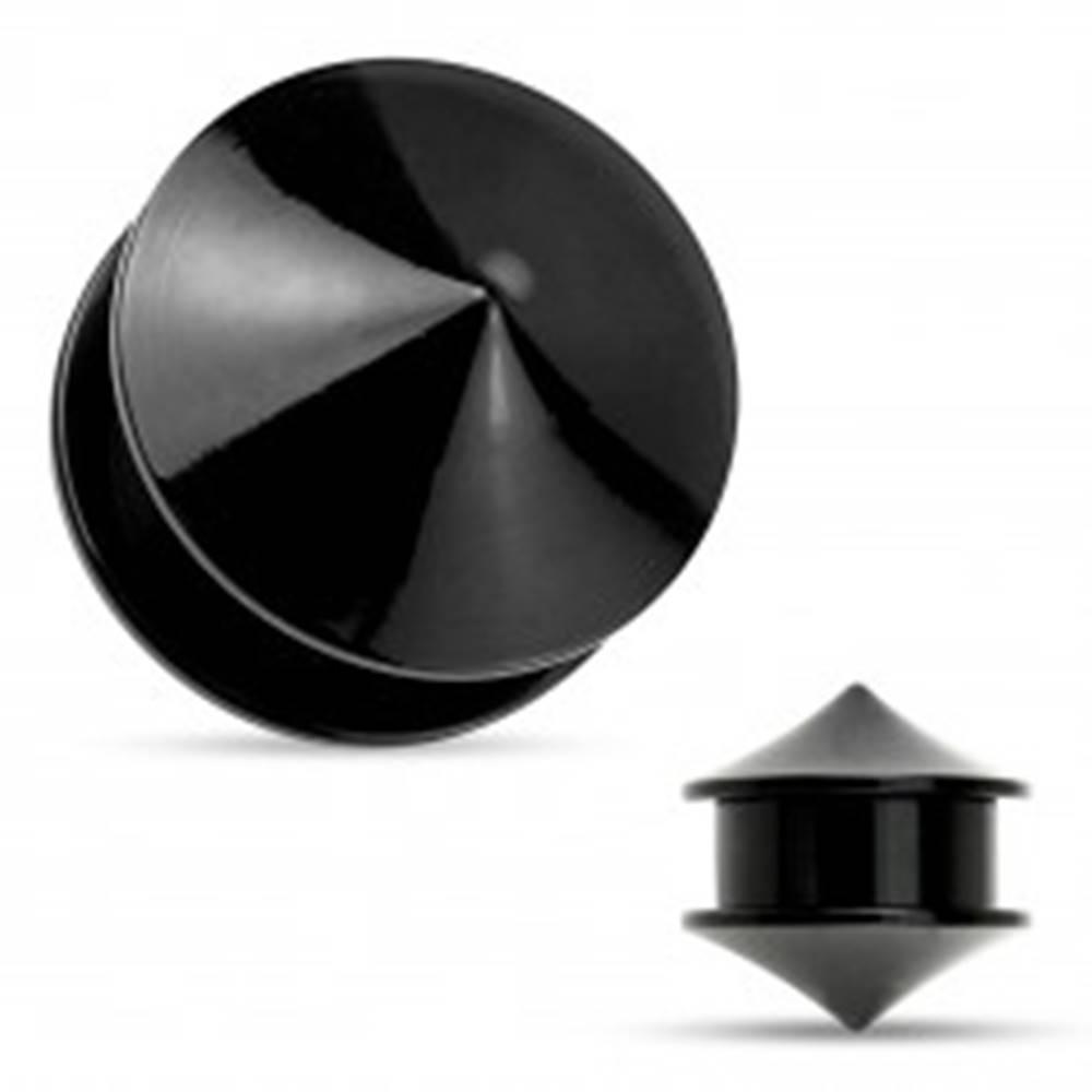 Šperky eshop Plug do ucha, akryl čiernej farby, dva lesklé hladké kužele - Hrúbka: 10 mm