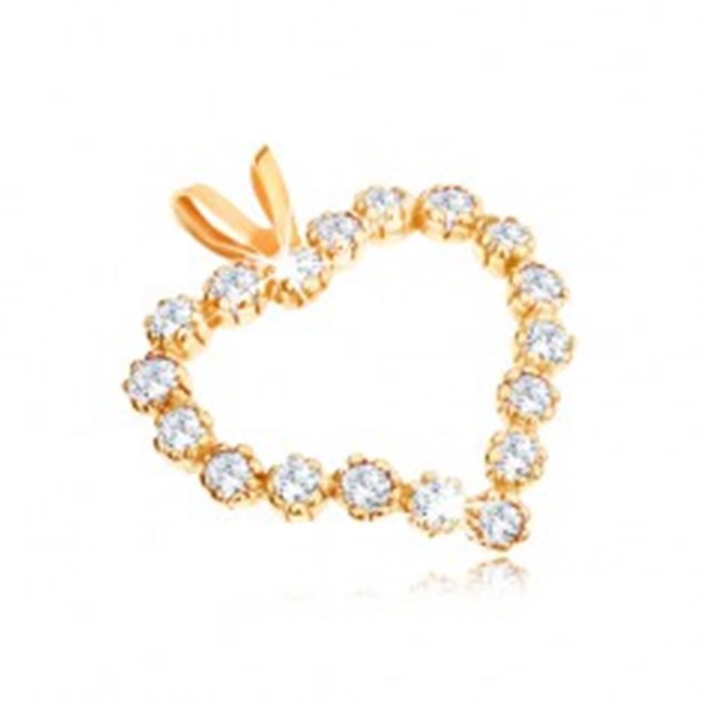 Šperky eshop Prívesok v žltom 9K zlate, číra zirkónová kontúra symetrického srdca