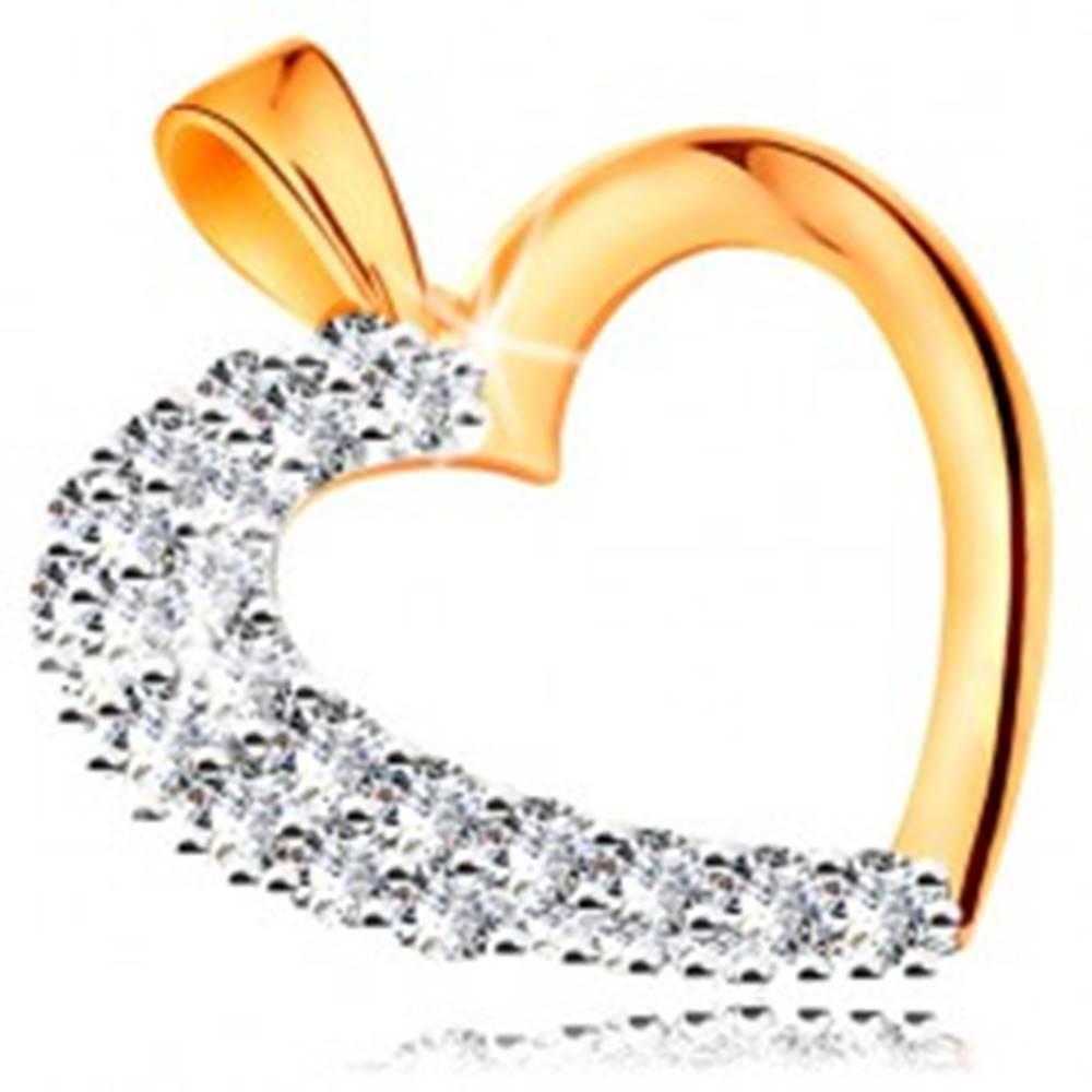 Šperky eshop Prívesok zo 14K zlata - ligotavá kontúra srdca so zirkónovou polovicou