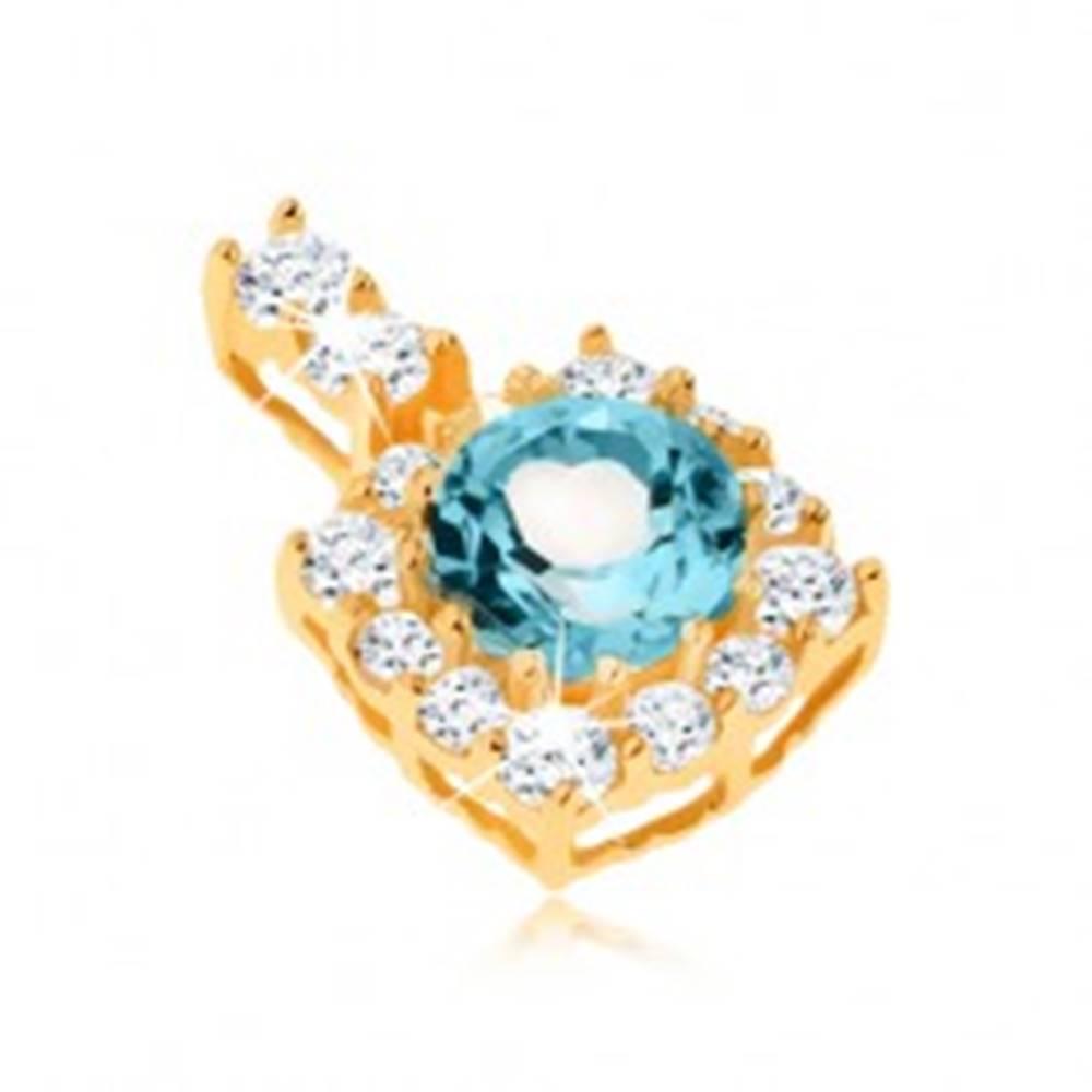 Šperky eshop Prívesok zo žltého 9K zlata - štvorcový zirkónový obrys, okrúhly modrý topás