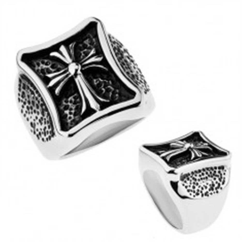 Šperky eshop Prsteň striebornej farby, chirurgická oceľ, lesklý kríž s rozdelenými cípmi - Veľkosť: 56 mm