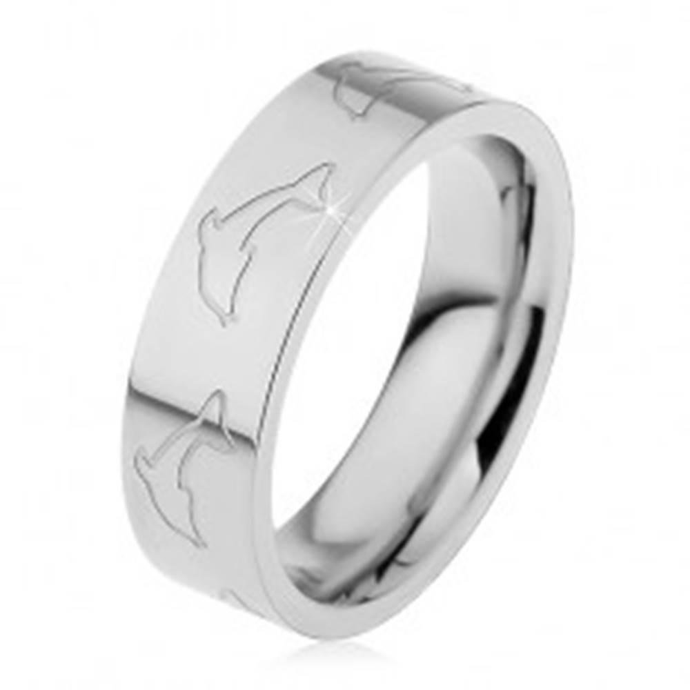 Šperky eshop Prsteň z ocele 316L, zrkadlovolesklý povrch, obrysy delfínov, 6 mm - Veľkosť: 49 mm