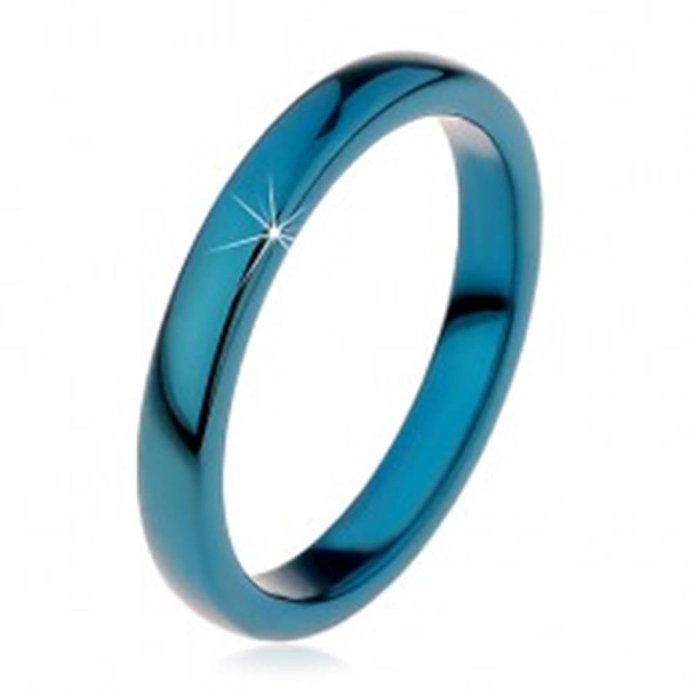 Šperky eshop Prsteň z tungstenu - hladká modrá obrúčka, zaoblená, 3 mm - Veľkosť: 49 mm
