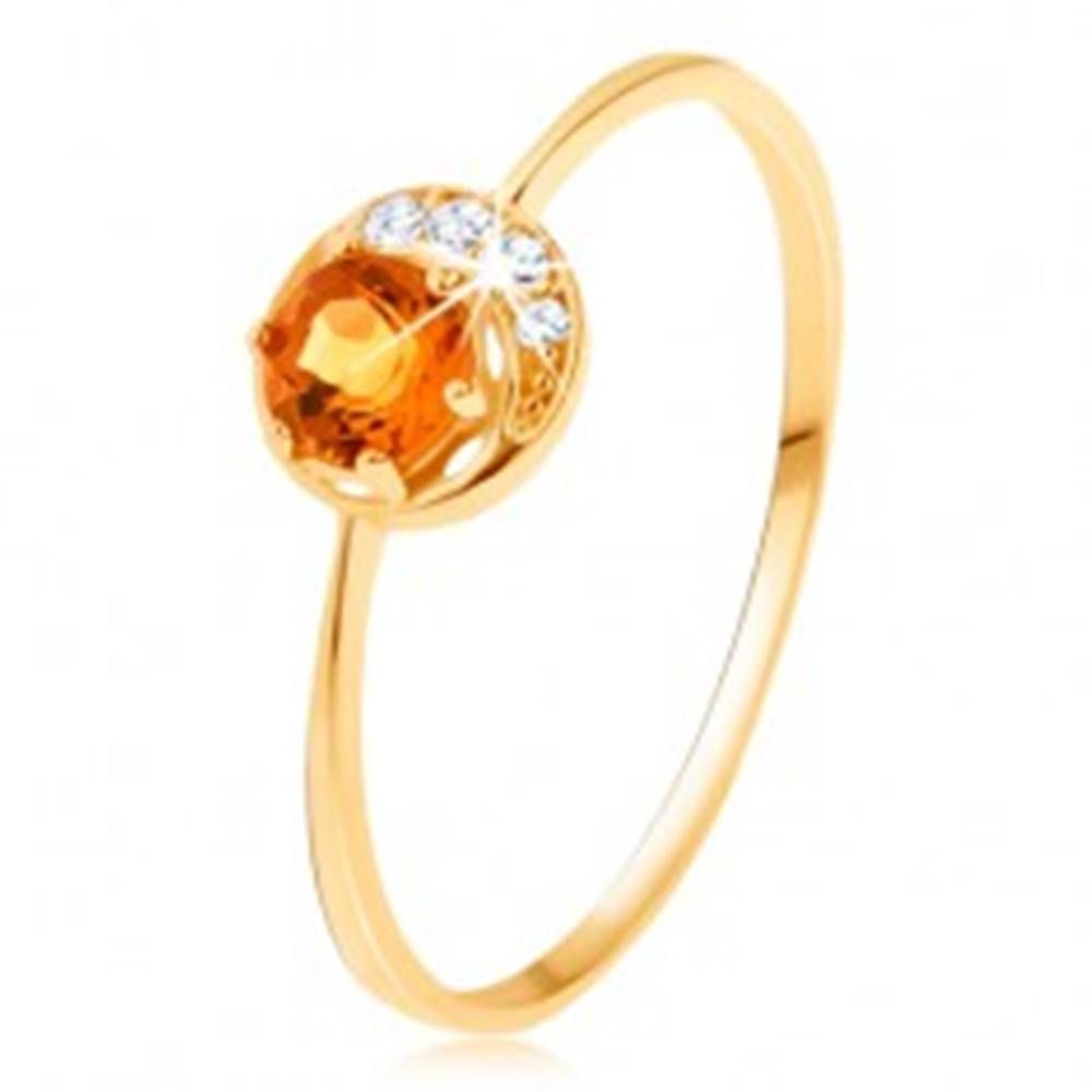 Šperky eshop Prsteň zo žltého 14K zlata - úzky kosáčik mesiaca, žltý citrín, zirkóniky čírej farby - Veľkosť: 50 mm