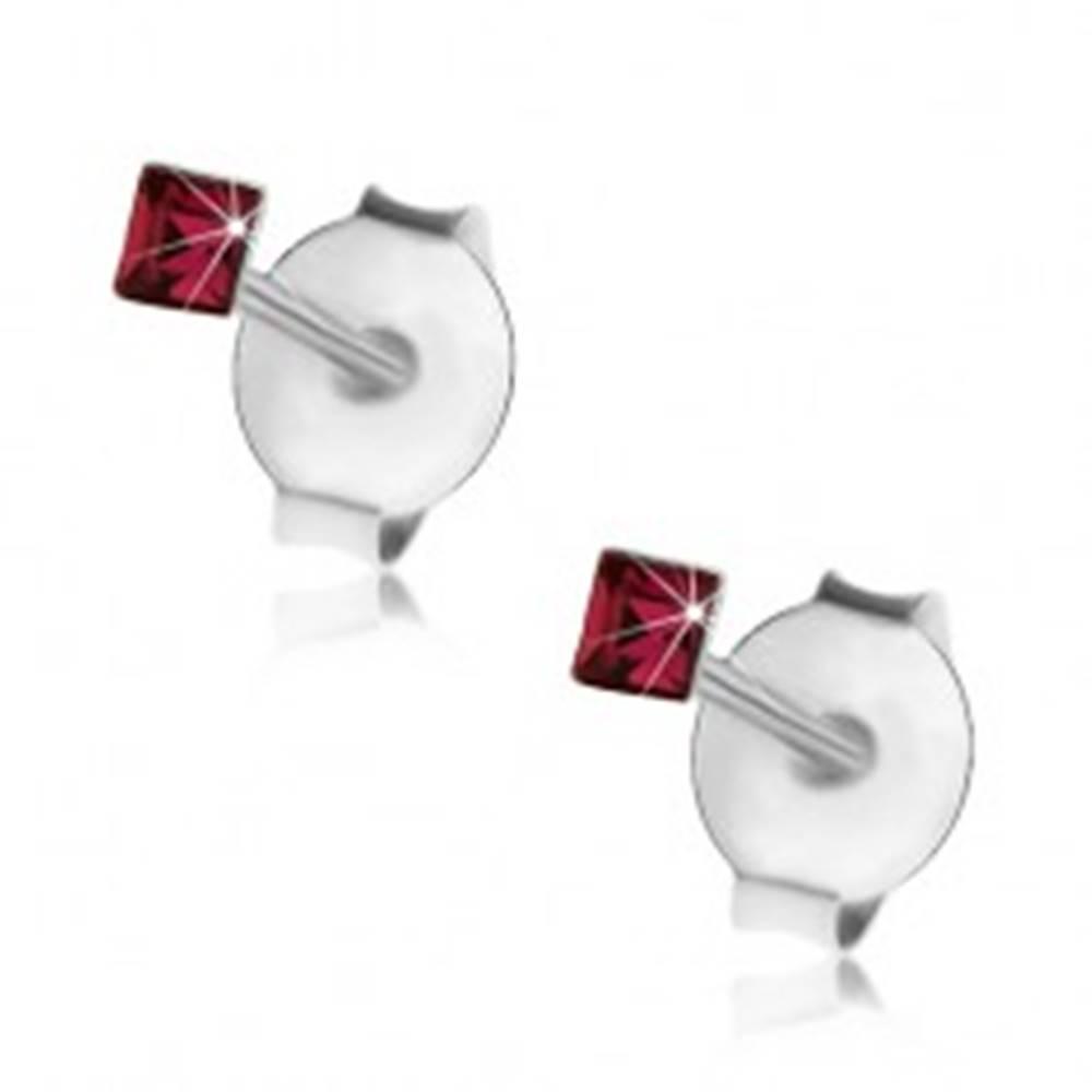 Šperky eshop Puzetové náušnice, striebro 925, ligotavý štvorček - krištálik Swarovski, 2 mm
